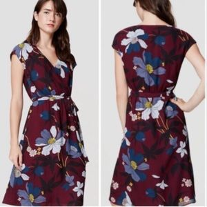 LOFT Plum Floral Wrap Midi Dress